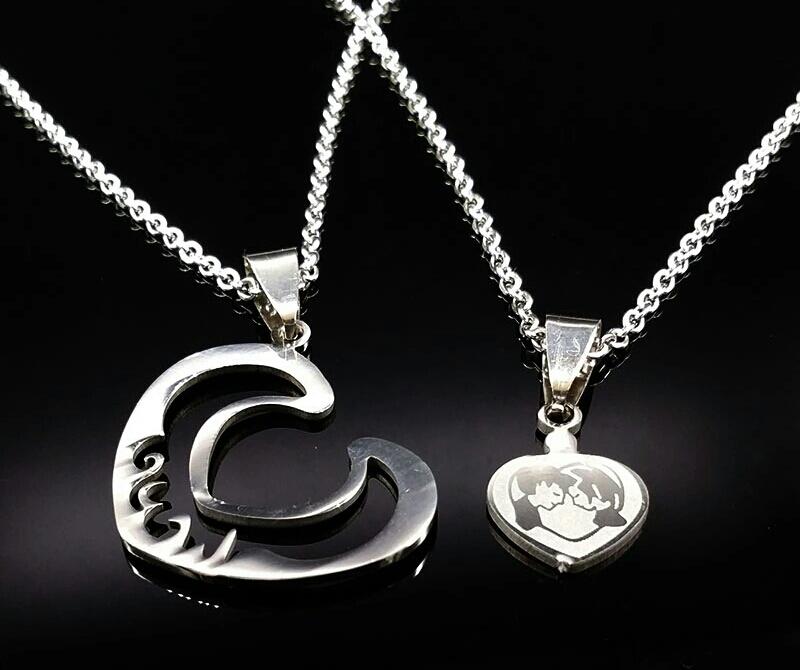 "Двоен медальон ""Сърце за двама"" от стомана"