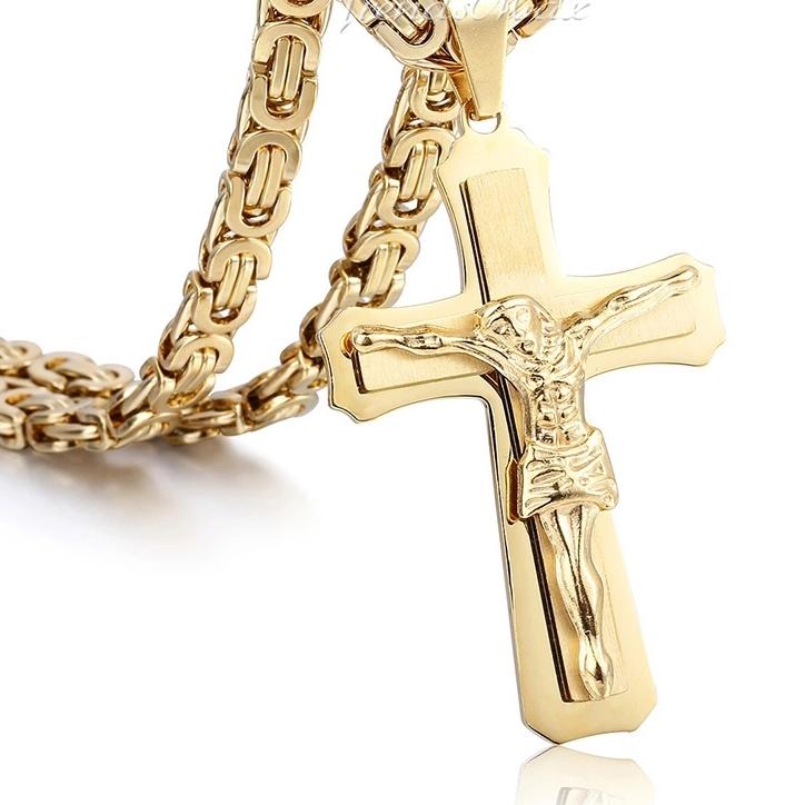 """Кръст и ланец от медицинска стомана с позлата """"Златен Сириус"""""""
