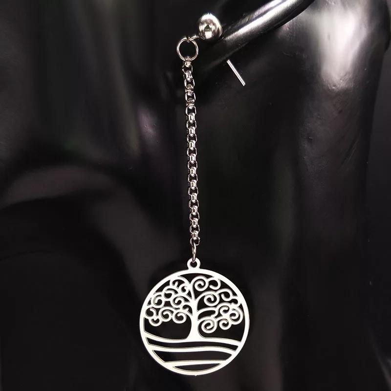 """Дълги обеци от стомана """"Дървото на живота"""""""