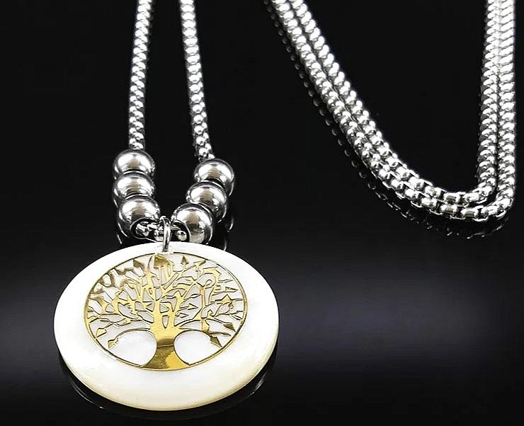 """Медальон от стомана и седеф """"Дървото на живота"""""""