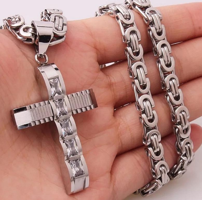 """Кръст и ланец от стомана """"Кристалина"""" – 2"""