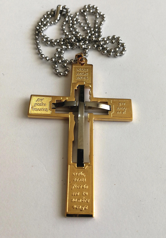 """Кръст от стомана с позлата """"Вяра"""""""