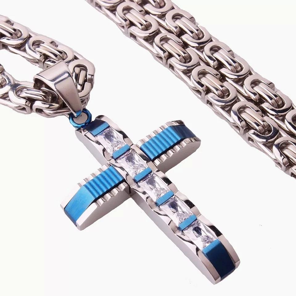 """Кръст и ланец от стомана """"Кристалина"""" – син"""