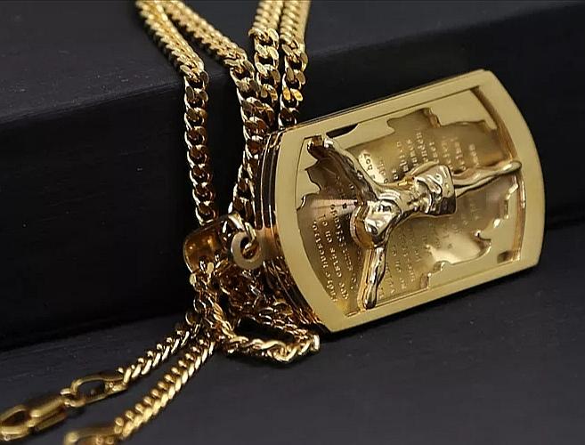 """Медальон от стомана с позлата """"Разпнатият Исус"""""""