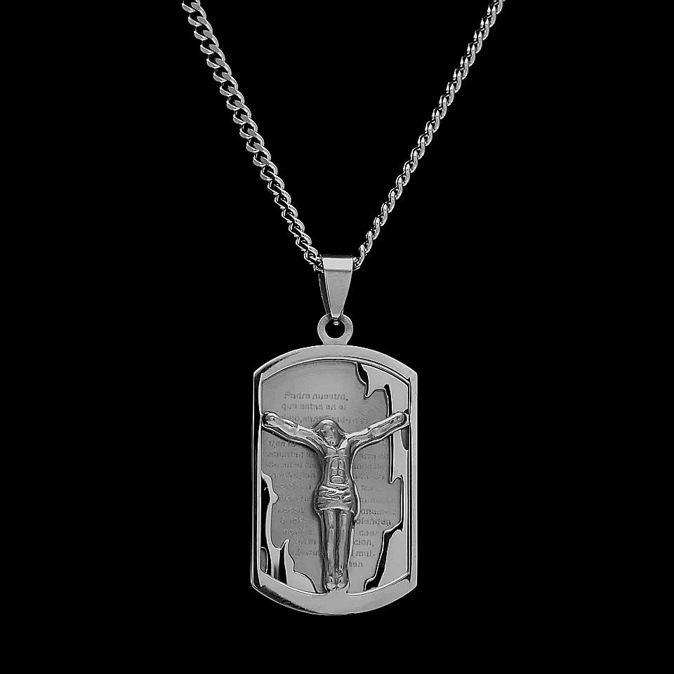 """Медальон от стомана """"Разпнатият Исус"""""""