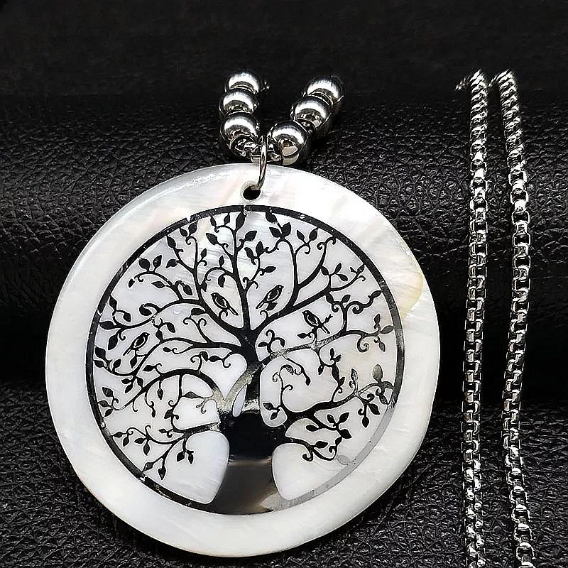 """Медальон от седеф и стомана """"Дървото на живота"""" – 01"""