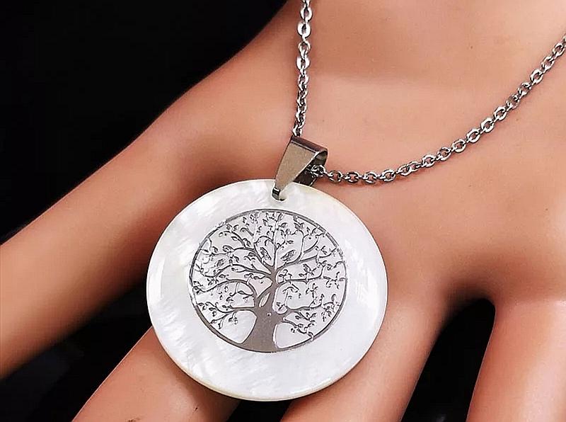 """Медальон от седеф и стомана – """"Дървото на живота"""" – 02"""