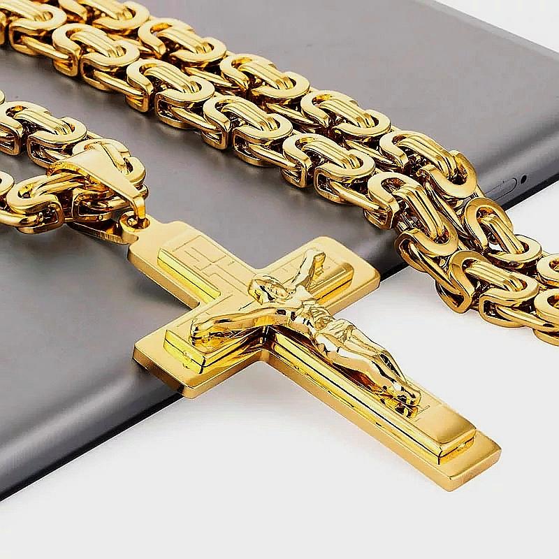 """Кръст и ланец от стомана """"Златен блясък"""""""