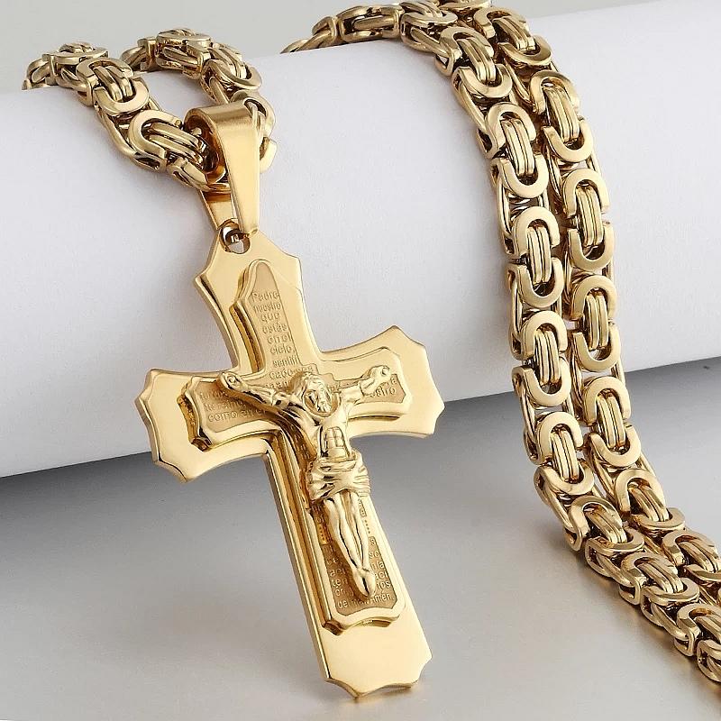"""Ланец и кръст от стомана """"Разпятието на Спасителя"""""""
