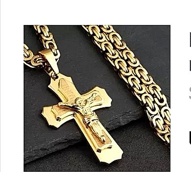 """Кръст и ланец от стомана с позлата """"ИСУС"""""""