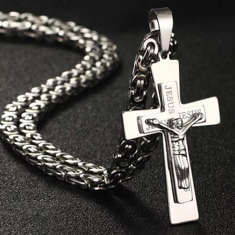"""Кръст и ланец от стомана """"ИСУС"""" – 02"""